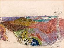 Armand GUILLAUMIN (1841 - 1927) ETUDE DE PAYSAGE - 1875 Pastel sur papier