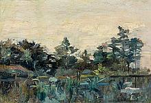Emmanuel de LA VILLEON (1858 - 1944) LA MOISSONNEUSE - Circa 1925 - L'ETANG SOMBRE Ensemble de deux huiles, l'une sur panneau, l'aut