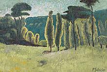 Paul SERUSIER (1864 - 1927) PINS ET PEUPLIERS DANS UN PRE Huile sur toile