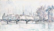 Paul SIGNAC (1863 - 1935) PARIS. LE PONT DES ARTS - Circa 1925 Aquarelle et crayon sur papier