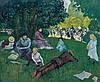 Jean-Emile LABOUREUR (1877 - 1943) LE DIMANCHE AU BOIS DE BOULOGNE - 1901 Peinture à l'essence sur carton
