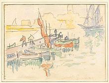 Paul SIGNAC (1863 - 1935) VUE DE PORT Aquarelle et crayon sur papier