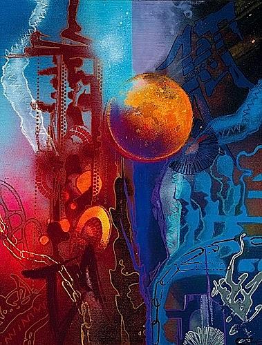 SHUCK ONE (né en 1970 -) MOON IN TIME (IN HEAD OUT), 2003 Peinture aérosol et poska sur toile