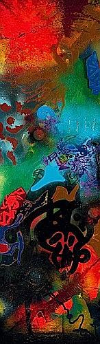 SHUCK ONE (né en 1970 -) OBSTACLES ET FRONTIERES, 1997 Acrylique, peinture aérosol et collages d'objets sur toile