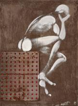Jérôme MESNAGER Français - Né en 1961 HOMMAGE A ANDRE COLOMER - 1989 Acrylique et tôle sur toile