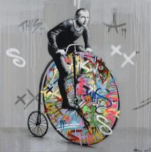 Martin WHATSON Norvégien - Né en 1984 VELOCIPED - 2014 Pochoir, peinture aérosol et marqueur sur toile