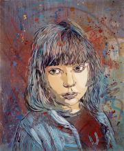 C215 Français - Né en 1973 NINA Pochoir et peinture aérosol sur toile