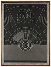 Shepard FAIREY (Alias OBEY GIANT) Américain - Né en 1970 SOUND AND VISION - 2012 Sérigraphie sur métal