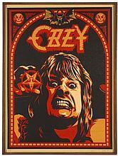 Shepard FAIREY (Alias OBEY GIANT) Américain - Né en 1970 OZZY - 2001 Sérigraphie sur toile