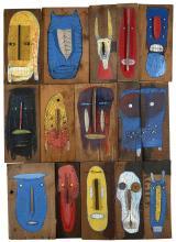 BAULT Français - Né en 1978 MASQUES - 2015 Technique mixte et assemblages sur panneau de bois