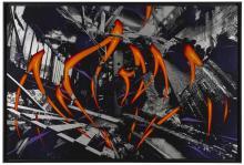 KATRE Français - Né en 1977 K-IVRY BURNING - 2015 Acrylique et peinture aérosol sur tirage photographique sérigraphié sur plaque dib...