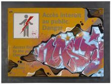 NASTY Français - Né en 1974 SANS TITRE - 2012 Peinture aérosol et marqueur sur plaque émaillée RATP