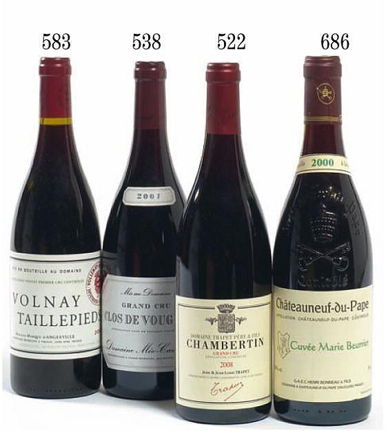 3 bouteilles CLOS DE VOUGEOT 2007 Grand Cru