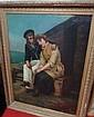 Ecole française de la seconde partie du XIXe siècle  Le départ du marin Huile sur toile  Trace de signature en bas à droite R...