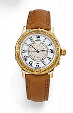 LONGINES HOUR ANGLE LINDBERGH, n° 24498967, vers 1990 Montre bracelet en or jaune 18K (750). Boîtier rond à charnières. Lunette...