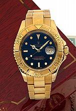 ROLEX YACHT MASTER, réf. 16628, n° P391386, vers 2000 Belle montre bracelet de plongée en or jaune 18K (750). Boîtier rond. Cour...