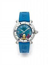 CHOPARD HAPPY SPORT FISH, n° 1086658/8347, vers 2000 Montre bracelet de plongée en acier. Boîtier rond. Lunette tournante. Cadra...