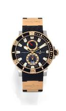 ULYSSE NARDIN MARINE DIVER, n° 1203, vers 2006 Montre bracelet de plongée en or rose 18K (750) et acier. Boîtier rond, fond saph...