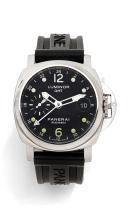 PANERAI LUMINOR GMT, réf. PAM00244, vers 2003 Montre bracelet de plongée en acier. Boîtier coussin, fond vissé. Cadran noir avec...
