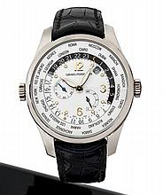 GIRARD PERREGAUX WWTC, réf. 49841 n° 412, vers 2000 Montre bracelet en or blanc 18K (750). Boîtier rond, fond saphir. Cadran arg...