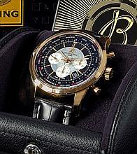 BREITLING TRANSOCÉAN, n° 430/4222904, vers 2014 Rare et beau chronographe bracelet en or rose 18K (750). Boîtier rond, fond viss...