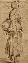 Ecole italienne du XVIIe siècle  Jeune femme de profil marchant Plume et encre brune sur trait de crayon noir