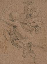 Ecole française du XVIIe siècle  Deux angelots porteurs de couronnes et palmes de martyrs Crayon noir, sanguine et rehauts de blanc