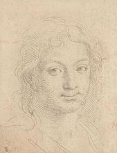Charles Le Brun Paris, 1619 - 1690 Visage de jeune homme souriant Contre épreuve de crayon noir,