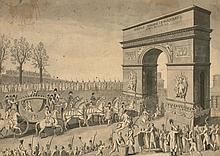 Ecole française du XIXe siècle  Entrée de Sa Majesté Impériale Marie Louise dans la Ville de Paris le 2 avril 1810 Plume et encre no...