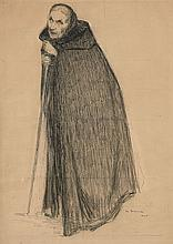 Henri Le Sidaner Port-Louis, 1862- Paris, 1939 Vieille femme à la cape Plume et encre de Chine, mise au carreau,