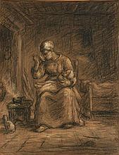 Jean-Charles Millet Paris, 1892 - Dachau, 1944 Le repas du nourrisson près de la cheminée Crayon noir et pastel