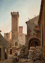 Attribué à Jean-Charles-Joseph Remond Paris, 1795 - 1875 Scène de rue dans une ville fortifiée du Sud de l'Italie Huile sur papier m..