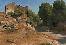 Attribué à Antoine Auguste Ernest Hébert Grenoble, 1817 - La Tronche, 1908 Vue d'Italie, un chemin menant à un village Huile sur toi..