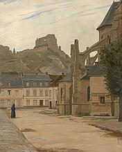 Adolphe Giraldon Marseille, 1855 - Paris, 1933 Vue des ruines du château Gaillard depuis le chevet de l'église Saint-Sauveur aux And..