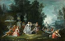 Ecole française du XVIIIe siècle Entourage de François Boucher Le bal champêtre Huile sur toile