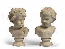 Ecole française du XVIIIe siècle  Deux bustes d'enfants Marbre blanc