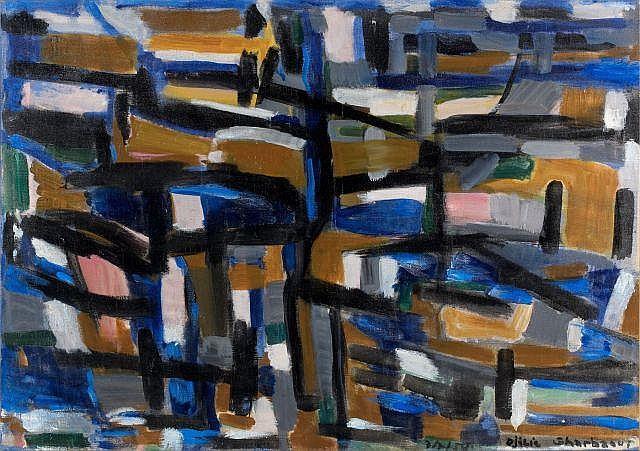Jilali GHARBAOUI (Jorf El Melha, 1930 - Paris, 1971) Composition, 1959 Huile sur toile