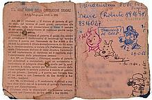 PERMIS DE CONDUIRE DÉDICACÉ Permis de conduire italien enrichi de 4 dessins au stylo Bic représentant les portraits de Tintin,...