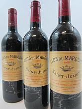 3 bouteilles CLOS DU MARQUIS 2000 Saint Julien (étiquette protégée par un film plastique)