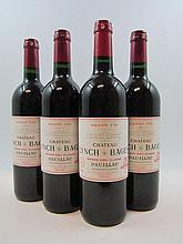 4 bouteilles CHÂTEAU LYNCH BAGES 1999 5è GC Pauillac (étiquettes léger tachées)