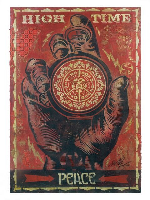 Shepard FAIREY (OBEY GIANT) (né en 1970 -) HIGH TIME FOR PEACE STENCIL, 2006 Pochoir, peinture aérosol et collages sur papier