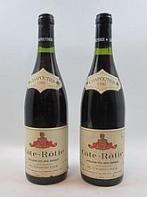 2 bouteilles COTE ROTIE 1990 Chapoutier (étiquette fanée)