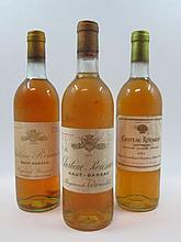 7 bouteilles 1 bt : CHÂTEAU ROUMIEU 1975 Sauternes (base goulot, étiquette sale et tachée)