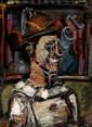 Georges ROUAULT (Paris, 1871 - Paris, 1958) CLOWN DE PROFIL, 1938 - 1939 Huile sur papier marouflé sur toile