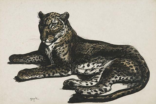 D'après Georges Lucien Guyot Paris, 1885 - 1973 Léopard couché Impression rehaussée d'encre de chine et lavis brun,