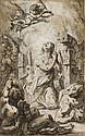 Ecole française du XVIIIe siècle  Sainte Catherine d'Alexandrie Plume et encre brune, lavis brun et gris sur trait de crayon noir et..