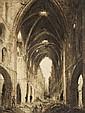Ecole romantique  Intérieur de la nef d'une église en ruines animé Plume et encre brune, lavis brun,