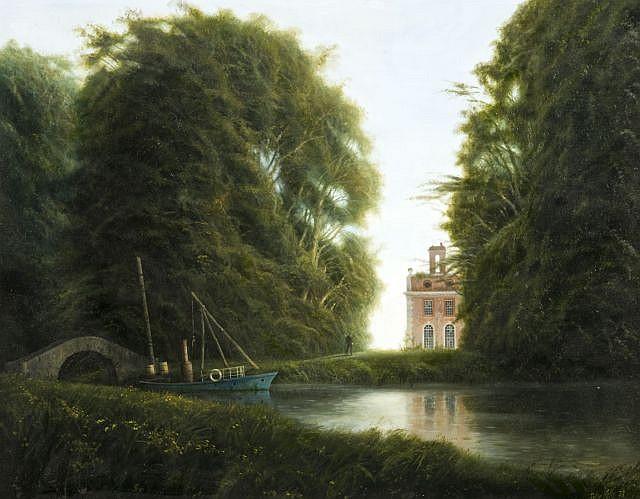 """Félix Kelly Auckland, 1914 - Devon,1994 """"Canal through the Park"""" Huile sur panneau d'isorel"""
