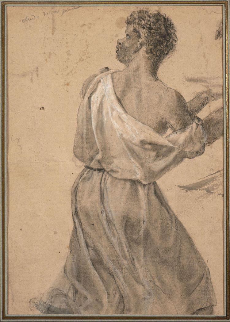Antoine-Jean Gros, baron Gros Paris, 1771 - Meudon, 1835 Serviteur vu de dos, étude pour Antiochus et Eleazar Crayon noir, estompe e...