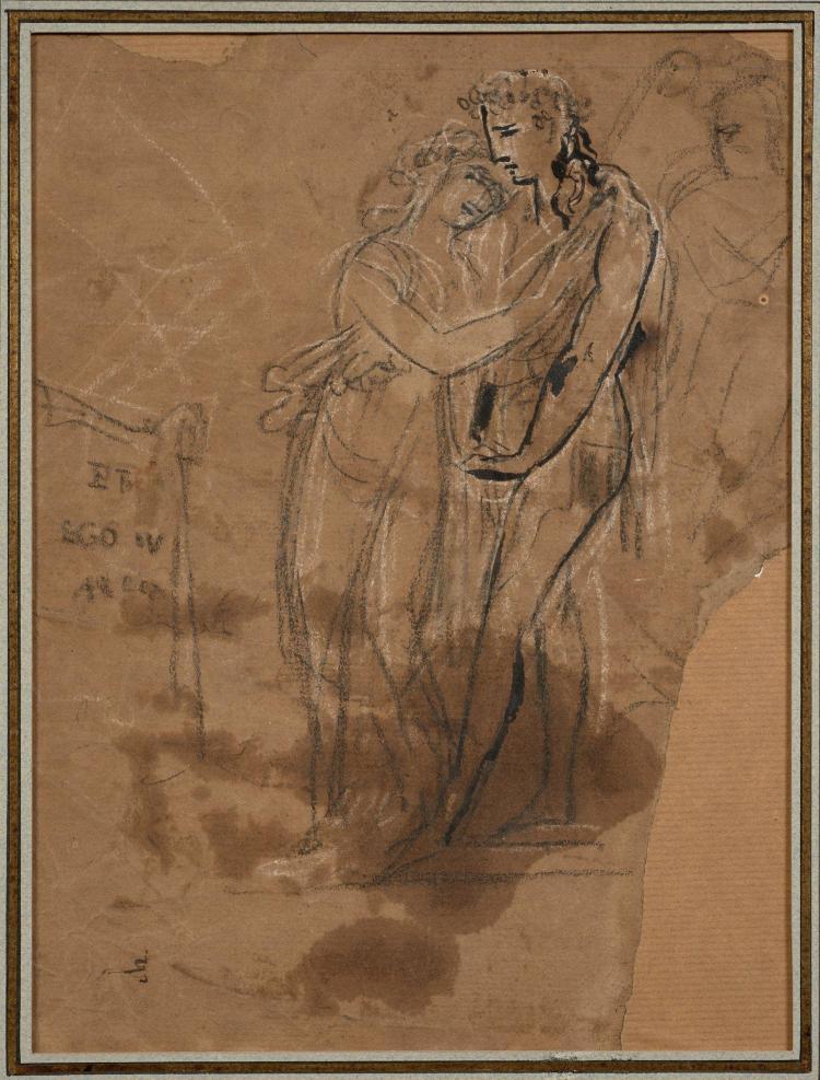 Antoine-Jean Gros, baron Gros Paris, 1771 - Meudon, 1835 Etude pour Les bergers d''Arcadie Crayon noir, craie banche et rehauts de pl..